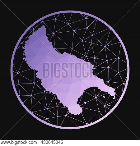 Zakynthos Island Icon. Vector Polygonal Map Of The Island. Zakynthos Island Icon In Geometric Style.