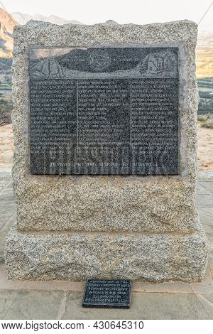 Paarl, South Africa - April 20, 2021: View Of The Memorial Plaque On The Du Toitskloof Pass Near Paa