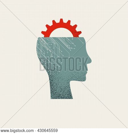 Business Process Automation And Artificial Intelligence Vector Concept. Symbol Of New Technology, Wo