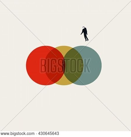Business Synergy And Merger Vector Concept. Symbol Of Cooperation, Technology. Minimal Illustration.