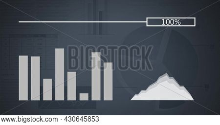 Digital image of random vector graphical charts, fluctuating bar graph and stacked area chart, and loading image