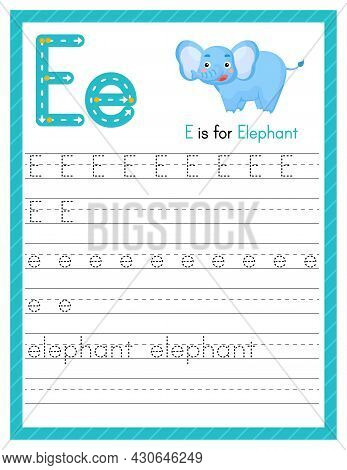 Trace Letter E Uppercase And Lowercase. Alphabet Tracing Practice Preschool Worksheet For Kids Learn
