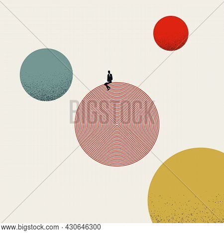Business Focus And Concentration Vector Concept. Symbol Of Job, Work, Balance And Attention. Minimal