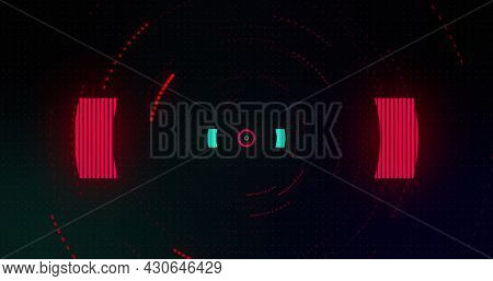 Image of flashing red and green circles on black background. Colour and movement concept digitally generated image.