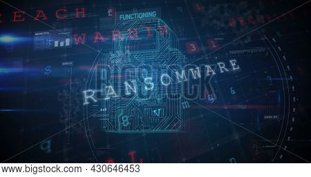 Panning view of a cyber security lock that is being decoded using a ransomware; with data encryption and coding concept as background