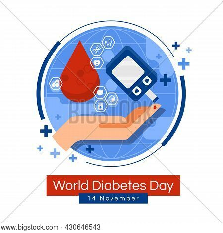 World Diabetes Day Banner - Drop Blood With Icon Of Medical Devices And Drugs Related To Diabetes Ar