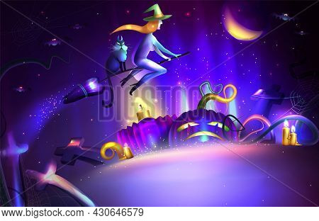 Halloween Night Vector Illustration Background With Flying Witch On Broom, Moon, Cemetery And Crosse