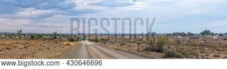 A Panoramic View Of Klipplaat In The Eastern Cape Province. Road R338 And Buildings Are Visible