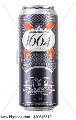 Ukraine, Kyiv - July 28. 2021: Large Aluminium Can Of Beer Brands Kronenbourg 1664 Lager Owned By Th