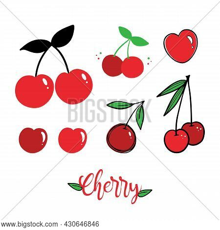 Set, Collection Of Cute Red Cherries Icons, Illustration In Different Designs. Cartoon, Outlined, Do