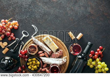 Wine Tasting Set With A Charcuterie Board, Overhead View, Copy Space For A Text