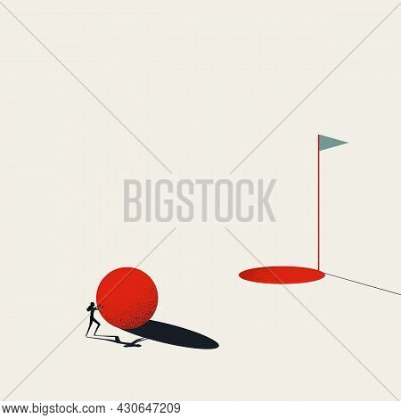 Business Goal And Objective Achievement Vector Concept. Symbol Of Success, Motivation, Hard Work. Mi