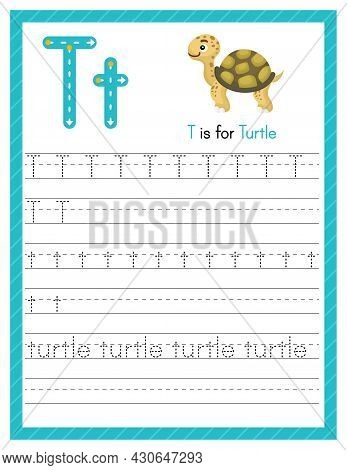 Trace Letter T Uppercase And Lowercase. Alphabet Tracing Practice Preschool Worksheet For Kids Learn