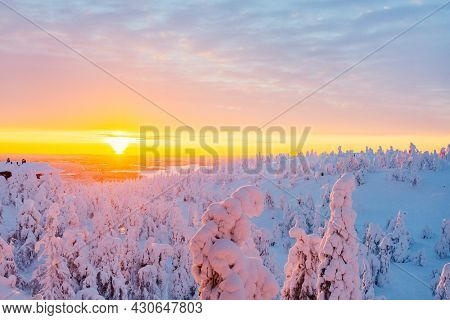 Majestic sunrise over winter landscape with snow covered trees in Lapland Finland