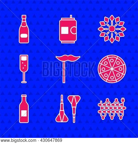 Set Paper Mustache On Stick, Dart Arrow, Christmas Lights, Pizza, Beer Bottle, Glass Of Champagne, F