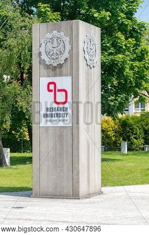 Gliwice, Poland - June 4, 2021: Emblem Of Research University Excellence Initiative Of Silesian Univ