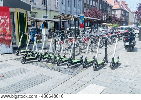 Gliwice, Poland - June 4, 2021: Blink Bee Electric Scooters.