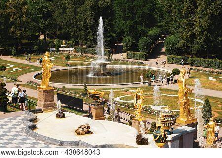 Saint-petersburg, Russia, July 2021: View Of The Eastern Bowl Fountain In Peterhof.