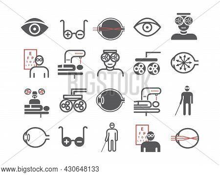 Myopia Line Icons Set. Vector Illustration For Websites, Magazines, Brochures. Medicine Signs