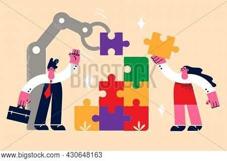 Teamwork, Business Cooperation Collaboration Concept. Two Young People Business Colleagues Man And W