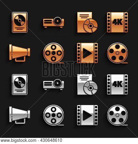 Set Film Reel, 4k Movie, Tape, Frame, Play Video, Megaphone, Cd Or Dvd Disk, Award In And Movie, Fil