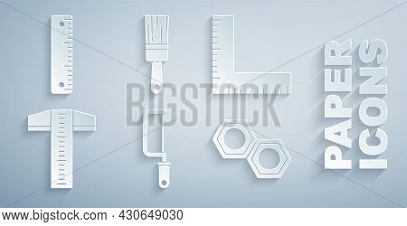 Set Hacksaw, Corner Ruler, T-square Line, Hexagonal Metal Nut, Paint Brush And Ruler Icon. Vector