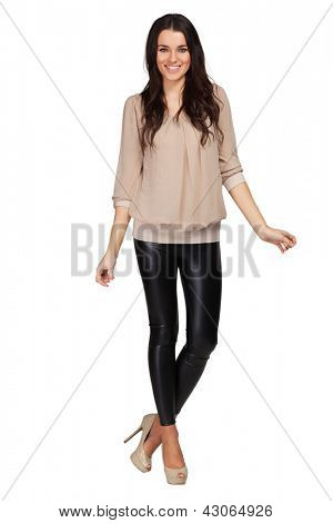 Elegant glamour woman wearing beige blouse and leggins
