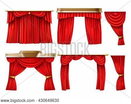 Red Curtains. Realistic Theatre, Opera Velvety Fabric Veils, Scene Textile Decor, Cornices And Lambr