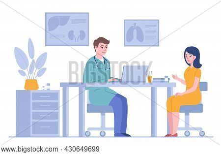 Doctor Consultation. Therapist With Female Patient In Clinical Office, Medical Examination, Workplac