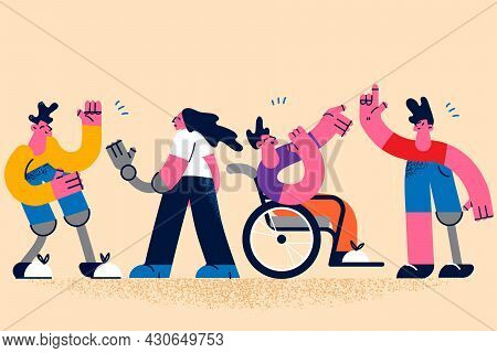 Happy Active Lifestyle Of Disabled People Concept. Group Of Young Disabled People Playing Communicat