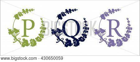 P Q R Letter. Set Modern Hand-drawn Silhouette Sketch Illustrations. Lavender Flower Wreath With Alp
