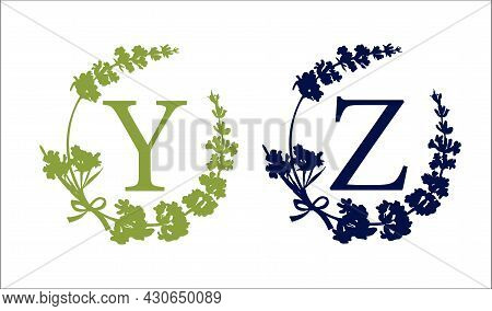 Y Z Letter. Set Modern Hand-drawn Silhouette Sketch Illustrations. Lavender Flower Wreath With Alpha