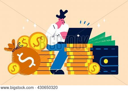 Earning Money And Work In Internet Concept. Young Smiling Man Freelancer Worker Cartoon Character Si