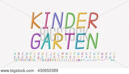 Multicolored Cartoon Italic Alphabet, Thin Linear Font Rainbow Bright Colors. Uppercase And Lowercas