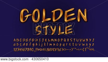 Golden Handwritten Font. Elegant Alphabet Letters, Numbers And Symbols, Hand Lettering Style. Gradie
