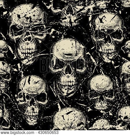 Seamless Pattern With Hand-drawn Human Skulls In The Grunge Style. Vector Background With Sinister S