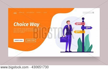 Choosing Life Path. Concept Of Career And Business Decisions And Achievement Of Results. Crossroads