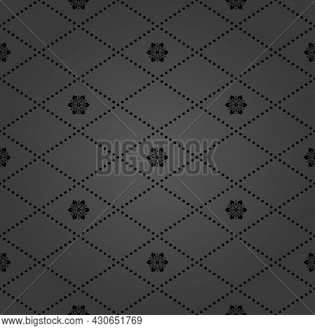 Geometric Dotted Vector Dark Pattern. Seamless Abstract Dark Modern Texture For Wallpapers And Backg