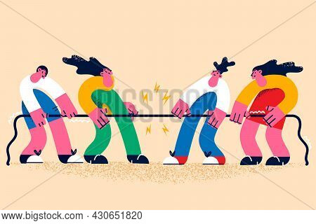 Rivalry, Contest And Sport Challenge Concept. Group Of People Cartoon Characters Making Rivalry Cont