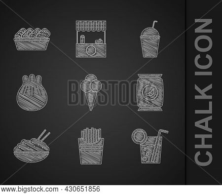 Set Ice Cream In Waffle Cone, Potatoes French Fries Box, Cocktail, Bag Or Packet Potato Chips, Rice