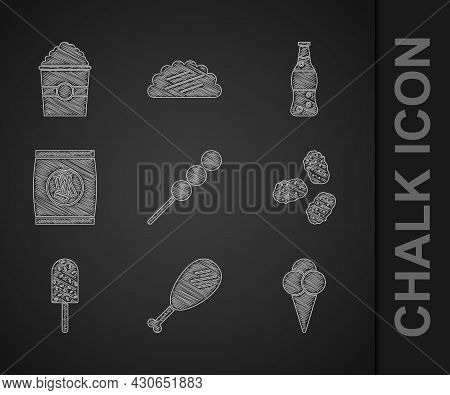 Set Meatballs On Wooden Stick, Chicken Leg, Ice Cream In Waffle Cone, Nuggets, Hard Bread Chucks Cra