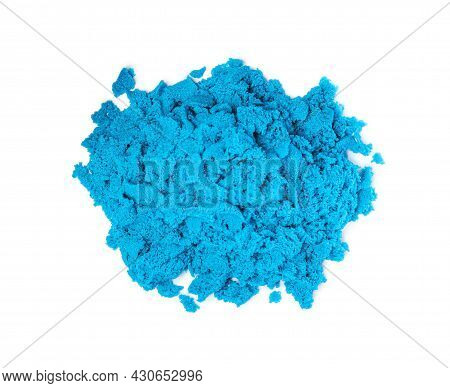 Pile Of Blue Kinetic Sand On White Background, Top View