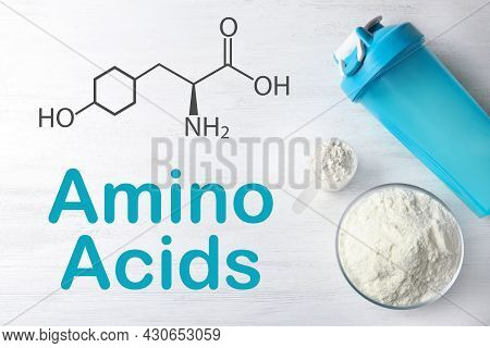 Measuring Scoop Of Amino Acids Powder And Sports Bottle On White Wooden Table, Flat Lay