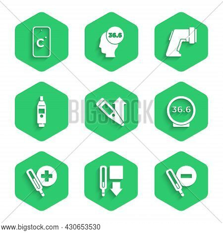 Set Digital Thermometer, Medical, And Celsius Icon. Vector