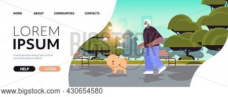 African American Senior Man Walking In Park With His Little Dog Grandfather Relaxing With Pet Citysc