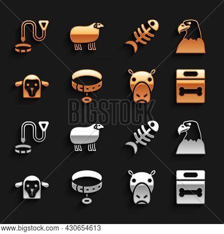 Set Collar With Name Tag, Eagle Head, Dog Bone, Hippo Or Hippopotamus, Sheep, Fish Skeleton, And Ico