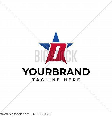 Letter D Logo Blue Asterisk Brand Identity Unusual Corporate Logo Design Template. Star Logo Design