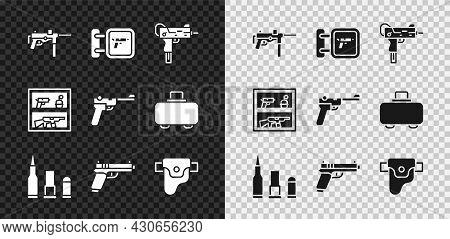 Set Submachine Gun M3, Hunting Shop Weapon, Uzi Submachine, Bullet, Pistol Or, Gun Holster, And Maus