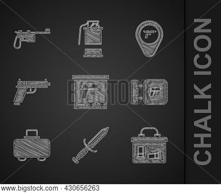Set Military Ammunition Box, Knife, Hunting Shop Weapon, Weapon Case, Pistol Or Gun, Location With A