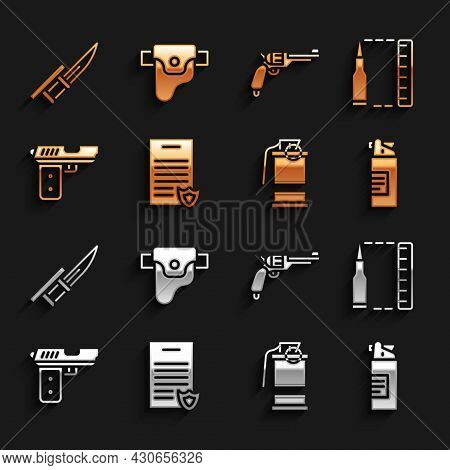 Set Firearms License Certificate, Bullet, Weapons Oil Bottle, Hand Smoke Grenade, Pistol Or Gun, Rev